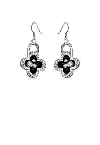 Glamorousky white Elegant Four-leafed Clover Earrings with Austrian Element Crystal CC995ACFCB2085GS_1
