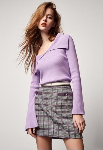 iROO multi Checkered A-Line Skirt DFE34AA120C774GS_1