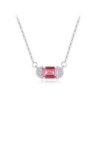 Glamorousky white 925 Sterling Silver Fashion Temperament Geometric Pink Cubic Zirconia Necklace 7AA82ACB73C8EEGS_1