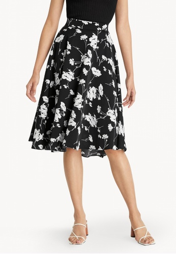 Pomelo black Floral Pleated Flare Skirt - Black B7991AA1350B06GS_1