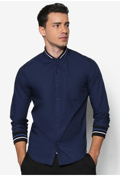Accent Rib Collar Long Sleeve Shirt