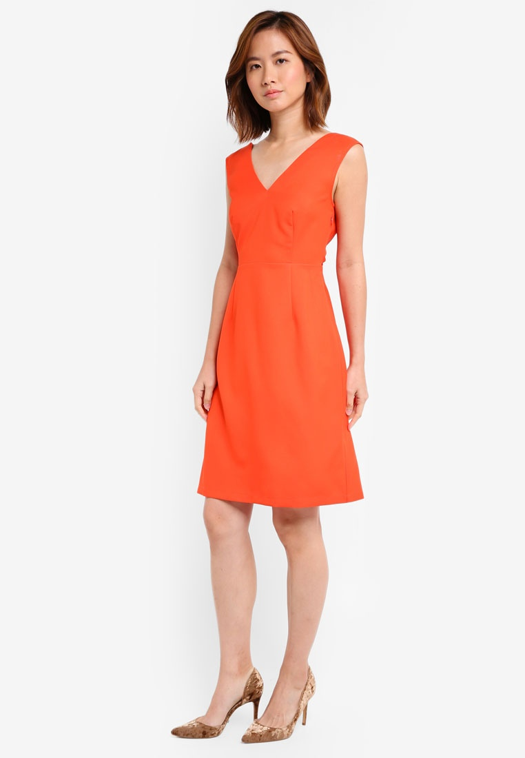 ZALORA Coral Dress Dress Detail ZALORA ZALORA Twist Coral Detail Twist Detail Dress Twist qwavtCfn7