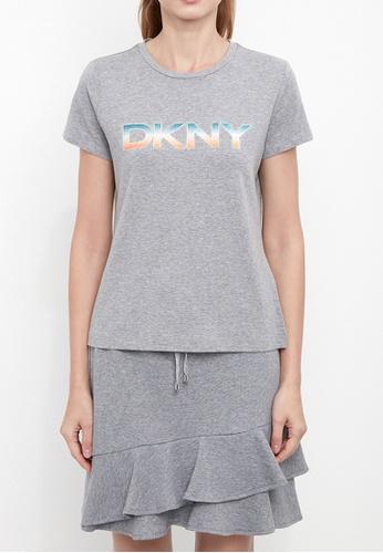 Dkny grey DKNY Women Rainbow Ombre Logo T-Shirt E8BF5AAC54E136GS_1