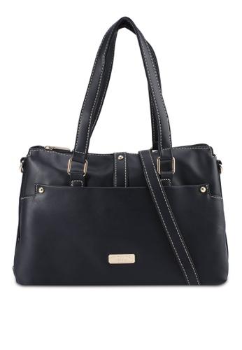 Unisa black Faux Leather Convertible Shoulder Bag 21E14ACD6CBC6DGS_1