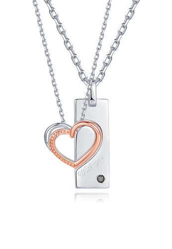 MaBelle silver and gold With You 925 Sterling Silver Couple Necklaces 425F1ACEBFD4B3GS_1