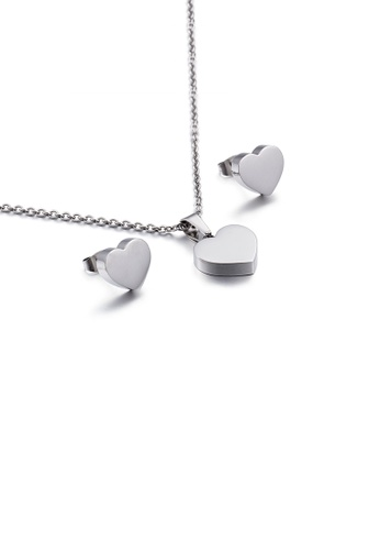 Glamorousky silver Simple and Romantic Heart-shaped 316L Stainless Steel Necklace and Stud Earrings Set EC1ACAC555C532GS_1