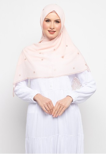 KASHKHA pink Hijab Chiffon With Lace With Stone Scarf By Kashkha/U19SHCAHJBKP9089L-Light Pink 7796EAAFFE2391GS_1