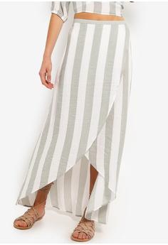 ad56ed3357 Something Borrowed white and green Asymmetric Midi Skirt 0E3EFAAFB7ECB4GS_1