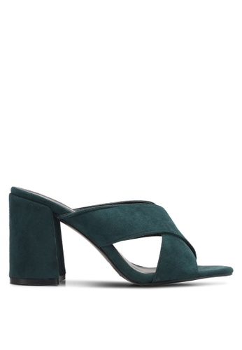 Something Borrowed green Crossover Block Heel Mules C5F2ESH7028F23GS_1