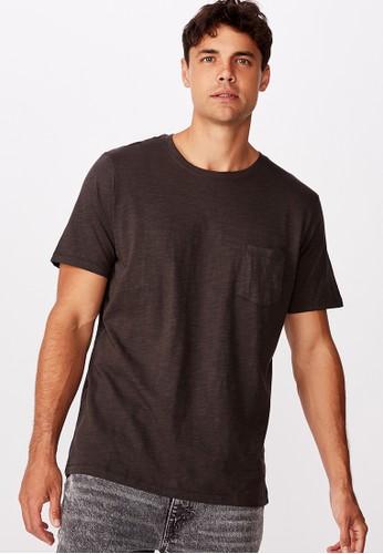 Cotton on black SLUB CREW NECK TEE 67F27AAB384DDBGS_1