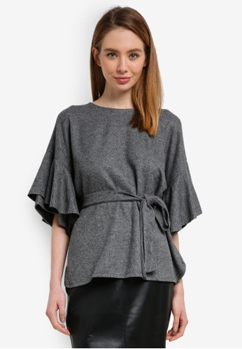 River Island grey Brandy Belted Top 72D2AAA6F01D31GS_1