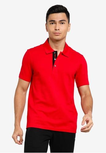 ck Calvin Klein red COTTON PIQUE POLO SHIRT - INSIDE LOGO 2D500AA7AE47BAGS_1