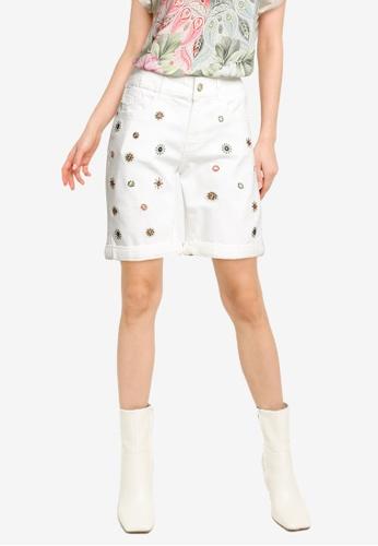 Desigual white Mandalas Jean Shorts A95A6AA3EC158EGS_1