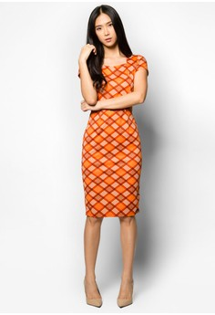 Checkered Pencil Dress with Belt