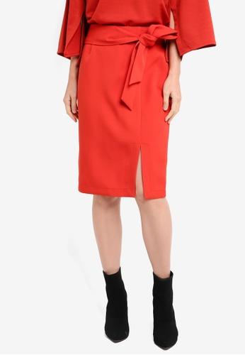ZALORA orange Soft Tailored Self Tie Skirt 277EFAA5A32516GS_1