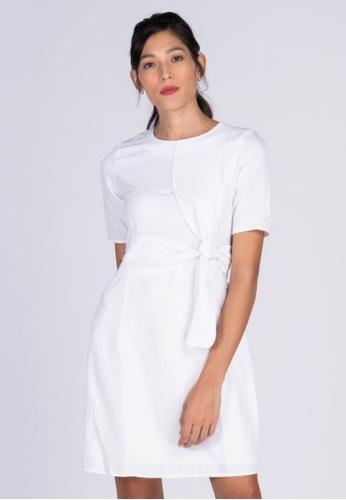 Apple & Eve white Plain Sheath Dress with Origami Style Belt loop 59705AA7C87BF1GS_1