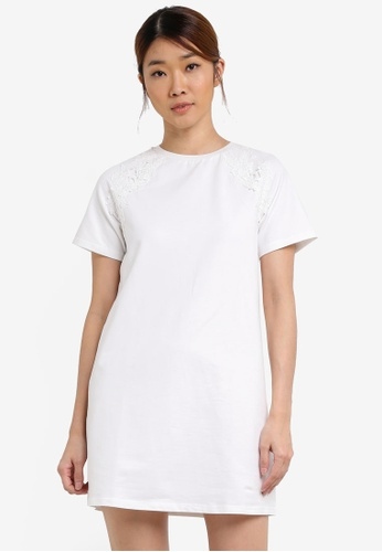 Something Borrowed white Lace Applique Tee Dress 537B5AAEECB3C9GS_1