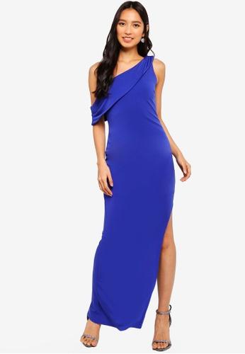 Preen & Proper blue Oblique Shoulder Bodycon Maxi Dress 0F405AA53E6B24GS_1