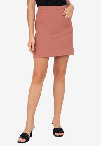 ZALORA WORK pink Patch Pocket Mini Skirt EC290AA4B11EBCGS_1