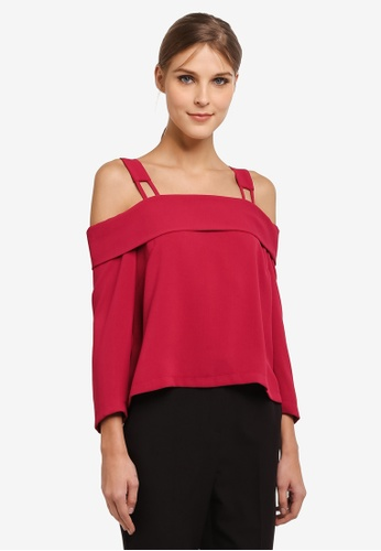 TOPSHOP red Tie Back Bardot Top TO412AA0SIVVMY_1