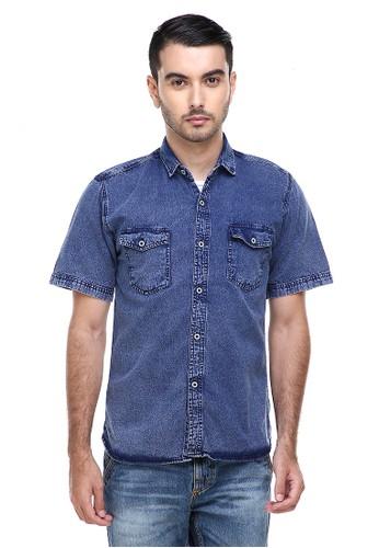 Hamlin navy Hamlin Dwan Casual Shirt Baju Kemeja Jeans Pria Lengan Pendek Material Denim ORIGINAL 62670AAF1B59B9GS_1