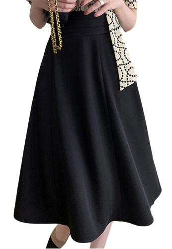 Sunnydaysweety black Elegant Retro High Waist A-Line Midi Skirt A21051347BK 22FB3AA439B6D6GS_1