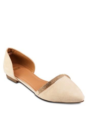 閃飾尖頭平zalora 衣服評價底鞋, 女鞋, 鞋