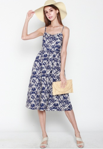 JOVET blue and beige Bamboo Printed Spaghetti Dress 12951AAB9D5611GS_1