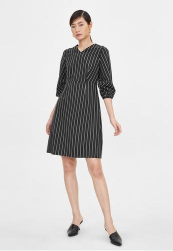 Pomelo black Striped Print Puff Sleeve Dress - Black 8F3EEAAB69F93DGS_1