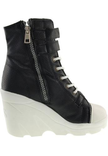 Maxstar black Maxstar Women's 3 Buckles High Wedge Heel PU Mid Calf Boots US Women Size MA164SH86QRXSG_1