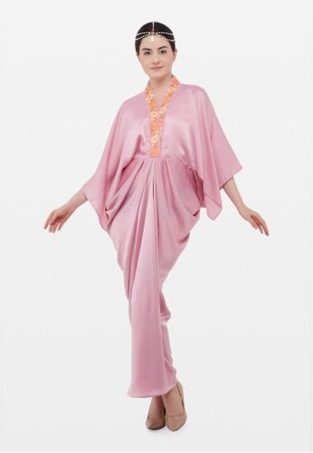 Kimore Studio pink Kaftan V Neck bergaya Kimono - Pink 9ACC3AA9EF0077GS_1