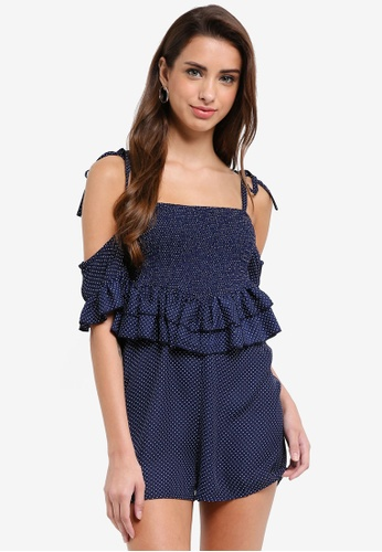 LOST INK navy Smocked Bust Playsuit 68D52AA0D01493GS_1