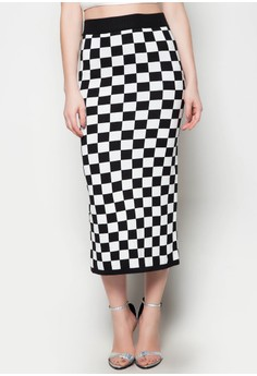 Maxi Knitted Skirt Square Printed Design