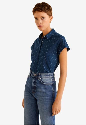 Mango blue Short Sleeve Shirt 96401AA718E0F8GS_1