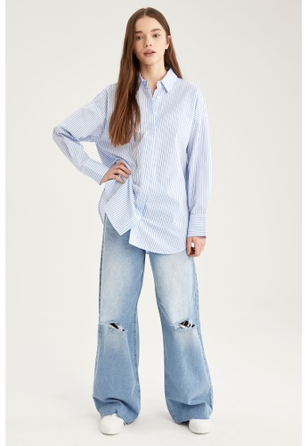 DeFacto blue Long Sleeve Cotton Shirt Tunic B02C9AA656C5A1GS_1