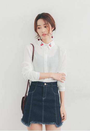 Shopsfashion white Cherry Collar Blouse SH656AA98PFXSG_1