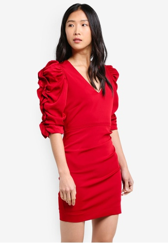 Mango red Ruched Sleeve Dress MA193AA0RZ0VMY_1
