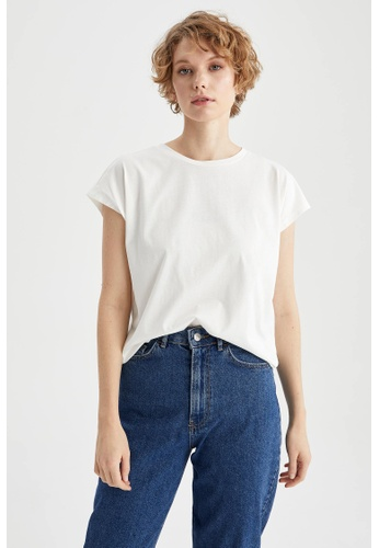 DeFacto beige Short Sleeve Round Neck Cotton T-Shirt 816A3AAE0CD6D7GS_1