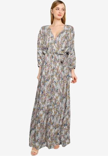 JACQUELINE DE YONG white and multi Una 3/4 Wrap Maxi Dress 0D3A1AA9828E75GS_1