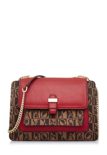 BONIA red Maroon Monogram Annelise Crossbody Bag M BCD10ACE205FE4GS_1