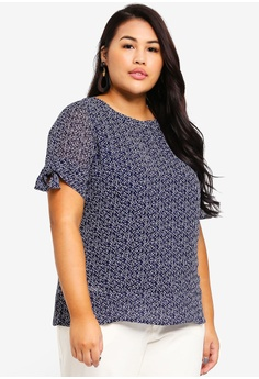 Ex otico navy Plus Size Short Sleeve Printed Blouse E2BB8AAF6C22A2GS 1 382733876