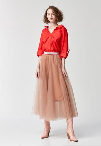 iROO beige Tulle Long Skirt 8D0F2AA3A031FEGS_1
