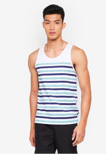 Burton Menswear London white and multi Mint And Blue Graduated Striped Vest 80484AA0353B98GS_1