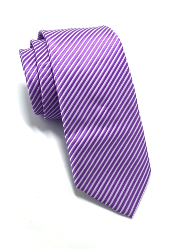 Splice Cufflinks Regalia Series Purple Stripes Polyester Fabric Tie SP744AC53QNQSG_1