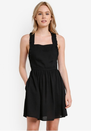 Something Borrowed black Frilled Strap Pinafore Dress 1F794AA3AD06FEGS_1