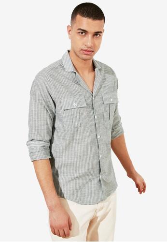 Trendyol green Regular Fit Striped Shirt 63CF7AAE509D8EGS_1