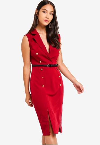 ZALORA 紅色 西裝風洋裝 17F4CAAABDB246GS_1