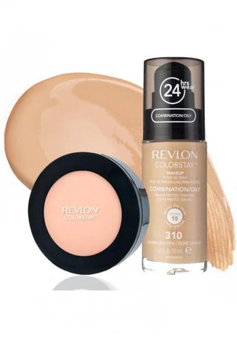 Revlon beige Revlon® Colorstay™ Makeup For Combination/oily Skin 310 Warm Golden & Revlon® Colorstay™ Pressed Powder 840 Medium RE737BE40CWXSG_1