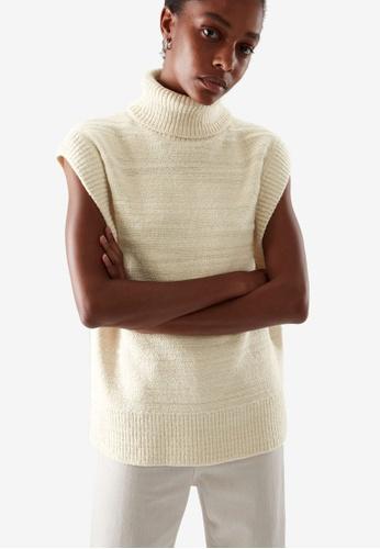 Cos white Textured Roll Neck Vest 6E2D1AA4977481GS_1