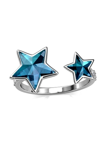 Her Jewellery blue and silver Dual Etiole Ring (Blue) - Made with premium grade crystals from Austria 95F30ACB80FCB7GS_1